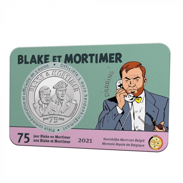 Pièce commémorative 5 € Belgique Blake et Mortimer 75 ans Relief BU (2021)