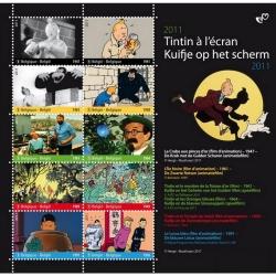 Planche de 10 Timbres B Post Moulinsart Tintin à l'écran (2011)