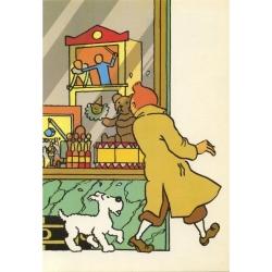 Postal de Tintín delante la tienda de juguetes, El cetro de Ottokar (10x15cm)