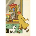 Postcard Tintin in front of the toy store, King Ottokar's Sceptre (10x15cm)