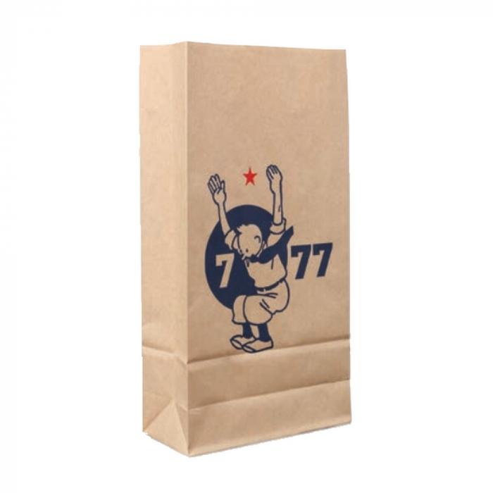 Recycled kraft paper bag Tintin 7 to 77 years 34x18x8cm (04122)