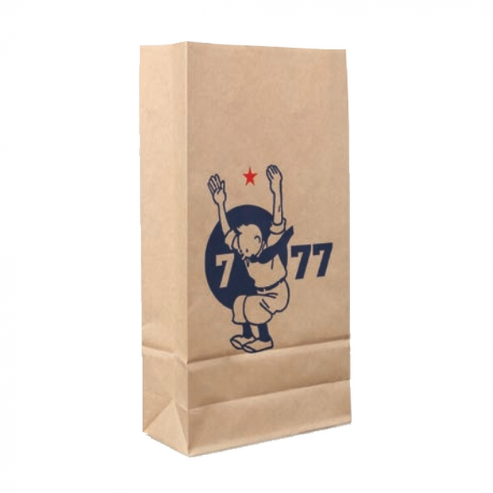 Sac en papier kraft recyclé Tintin de 7 à 77 ans 34x18x8cm (04122)