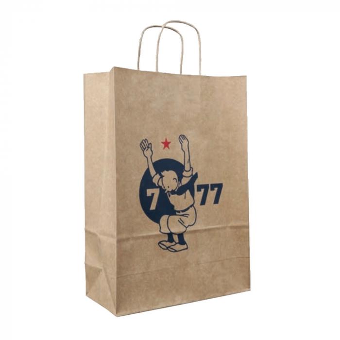 Recycled kraft paper bag Tintin 7 to 77 years 34x25x8cm (04118)