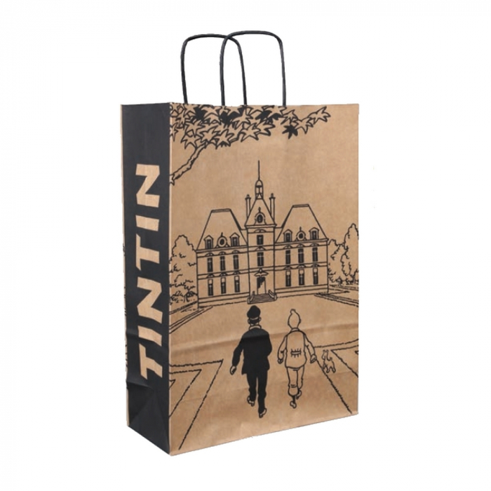 Recycled paper bag Tintin Castle of Moulinsart 36x25x11cm (04240)