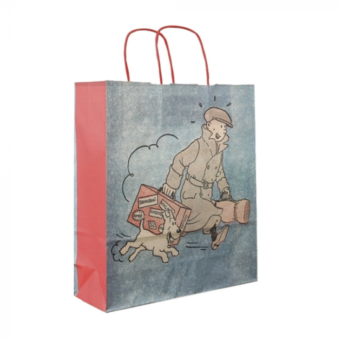 Recycled paper bag Tintin and Snowy ils arrivent !! 36x32x11cm (04241)