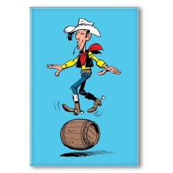 Decorative magnet Lucky Luke, balancing in a barrel (55x79mm)