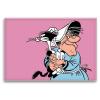 Imán decorativo Lucky Luke, Ma Dalton con su gato (55x79mm)