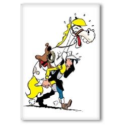 Decorative magnet Lucky Luke, Lucky Luke lifting Jolly Jumper (55x79mm)