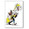 Decorative magnet Lucky Luke, Lucky Luke lifting Jolly Jumper (55x79mm)