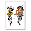 Decorative magnet Lucky Luke, Lucky Luke and Calamity Jane shooting (55x79mm)