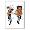 Imán decorativo Lucky Luke, Lucky Luke y Calamity Jane disparando (55x79mm)