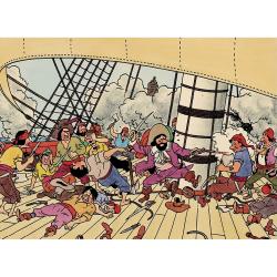 Carte postale Tintin, François de Hadoque, Le Secret de la Licorne (17,5x12,5cm)