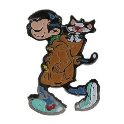 Pin's de collection Gaston Lagaffe, Gaston Duffle-Coat et son chat !! (Dalix 91)