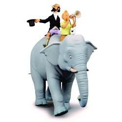Figurine collection Fariboles Tintin et professeur Siclone sur l'éléphant (2020)