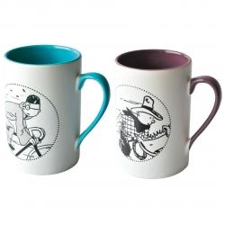 Set de dos tazas mugs porcelana Tintín a caballo y en bicicleta  47966 (2015)