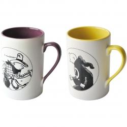Set de dos tazas mugs porcelana Tintín a caballo y en túnica 47964 (2015)