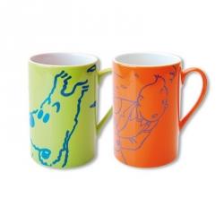 Set de dos tazas mugs porcelana Tintín y Milú Naranja / Verde 47962 (2014)