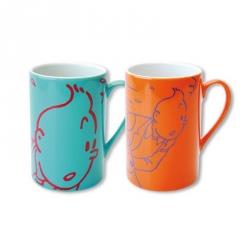 Set de dos tazas mugs porcelana Tintín y Milú Naranja / Turquesa 47961 (2014)