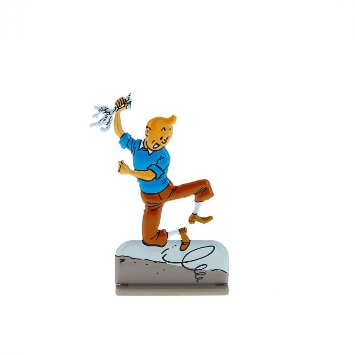 Figura metálica de colección Tintín saltando de alegría Moulinsart 29211 (2011)