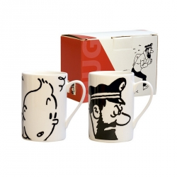Set de dos tazas mugs porcelana Tintín y Haddock Negro y Blanco (47947)