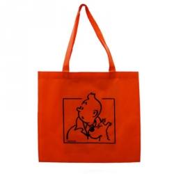 Bolsa reutilizable naranja Tintín y Milú 43x40x12cm (04217)