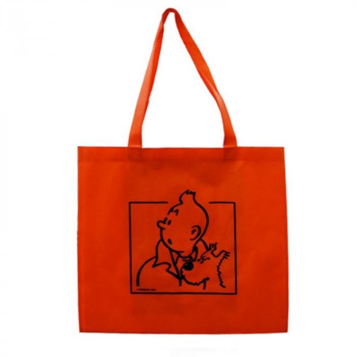 Reusable Orange Bag Tintin and Snowy 43x40x12cm (04217)