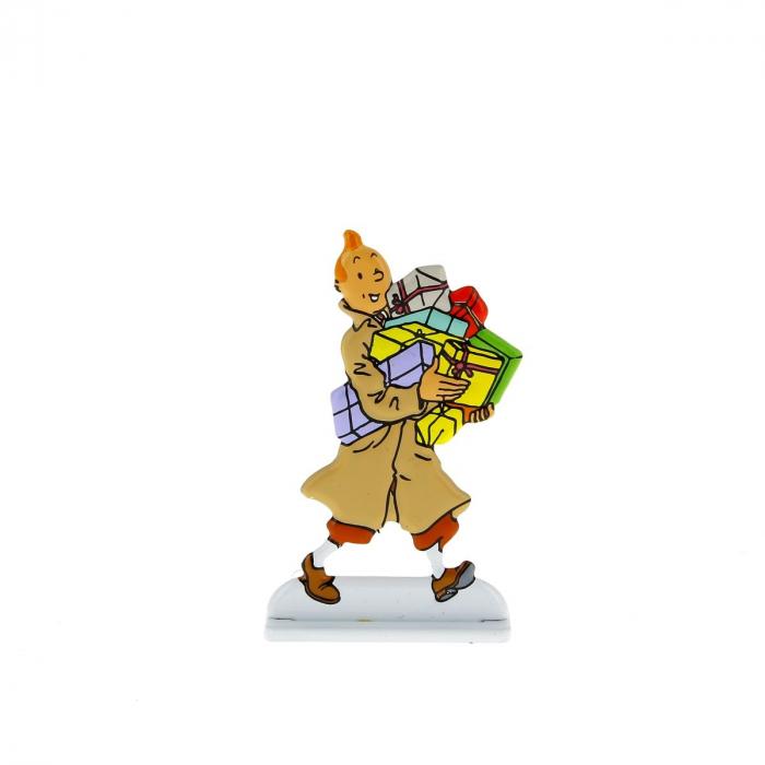 Figurine en métal de collection Tintin portant des cadeaux 29233 (2013)