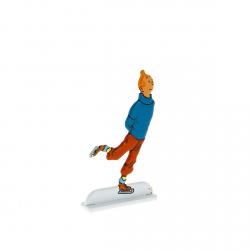 Figurine en métal de collection Tintin fait du patinage sur glace 29232 (2013)