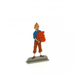 Figura metálica de colección Tintín llevando ladrillos 29230 (2012)