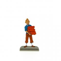 Figurine en métal de collection Tintin portant des briques 29230 (2012)