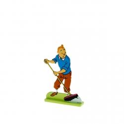 Figura metálica de colección Tintín barriendo 29227 (2012)