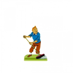 Figurine en métal de collection Tintin en train de balayer 29227 (2012)