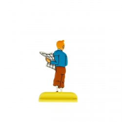 Collectible metal figure Tintin holding a newspaper 29225 (2012)