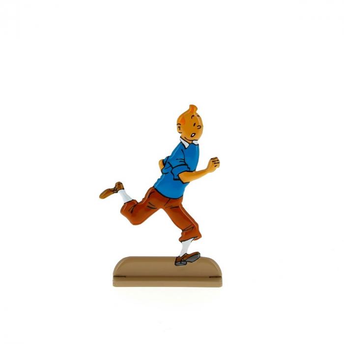 Figurine en métal de collection Tintin court avec joie 29218 (2011)