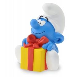 Figurine tirelire de collection Plastoy: Schtroumpf avec son cadeau 80045 (2016)