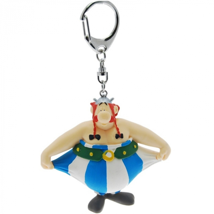 Porte-clés figurine Plastoy Astérix Obélix tenant son pantalon 60388 (2015)