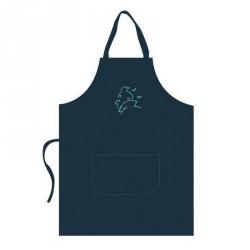 Tablier de cuisine Tintin 100% Coton Broderie Turquoise 69063 (109x84cm)
