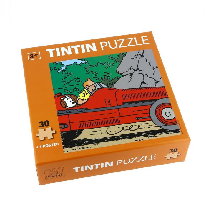 Puzzle Tintín y Milú en el coche Amilcar con póster 30x30cm 81544 (2015)