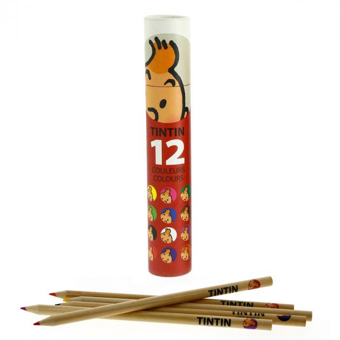 Tube rouge avec 12 crayons de couleur Les Aventures de Tintin (54781)