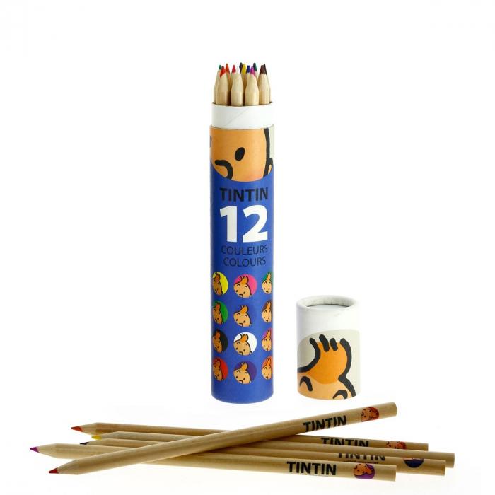 Tubo azul con 12 lápices Las aventuras de Tintín (54782)