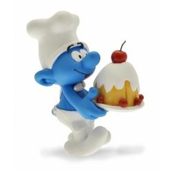 Figurine de collection Plastoy Le Schtroumpf cuisinier avec gâteau 00166 (2015)