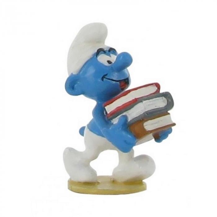 Figurine de collection Pixi Le Schtroumpf avec une pile de livres 6431 (2012)