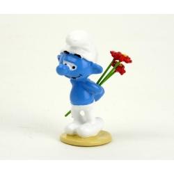 Figurine de collection Pixi Le Schtroumpf aux fleurs 6433 (2012)