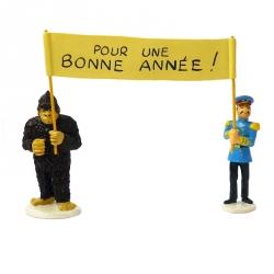 Figurines Tintin Le Yéti avec le Général Alcazar Carte de voeux 1972 (46998)