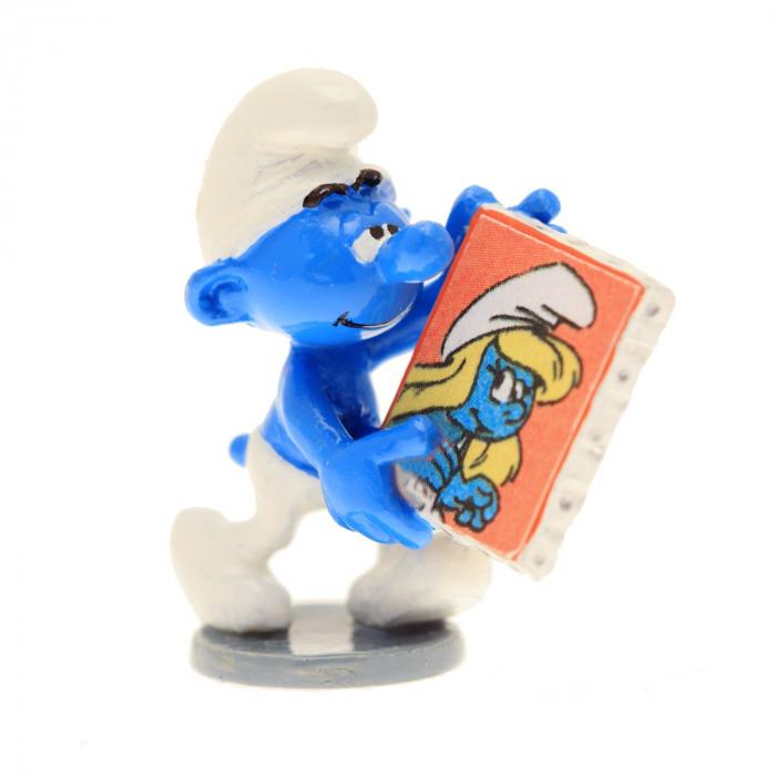 Figurine de collection Pixi Le schtroumpf tenant un cadre 6416 (2016)
