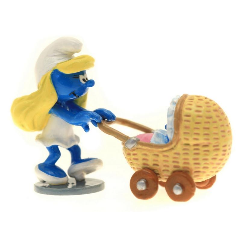 Figura de colección Pixi La pitufa con su cochecito de bebé 6420 (2016)