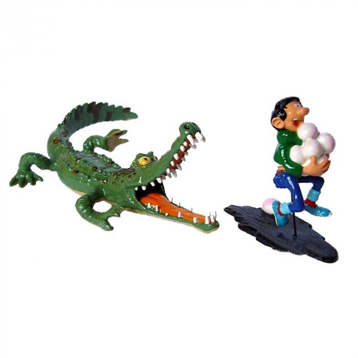 Figurine de collection Pixi Gaston Lagaffe poursuivi par le Crocodile 4742 (2002)