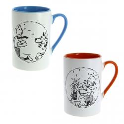 Set de dos tazas mugs porcelana Tintín rojo y azul 47970 (2016)