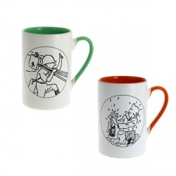 Set de dos tazas mugs porcelana Tintín verde y rojo 47969 (2016)