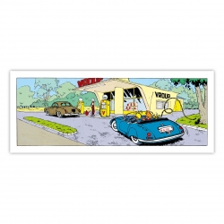Framed Canvas Spirou and Fantasio Gas Station Grand Vingtième (55x20cm)